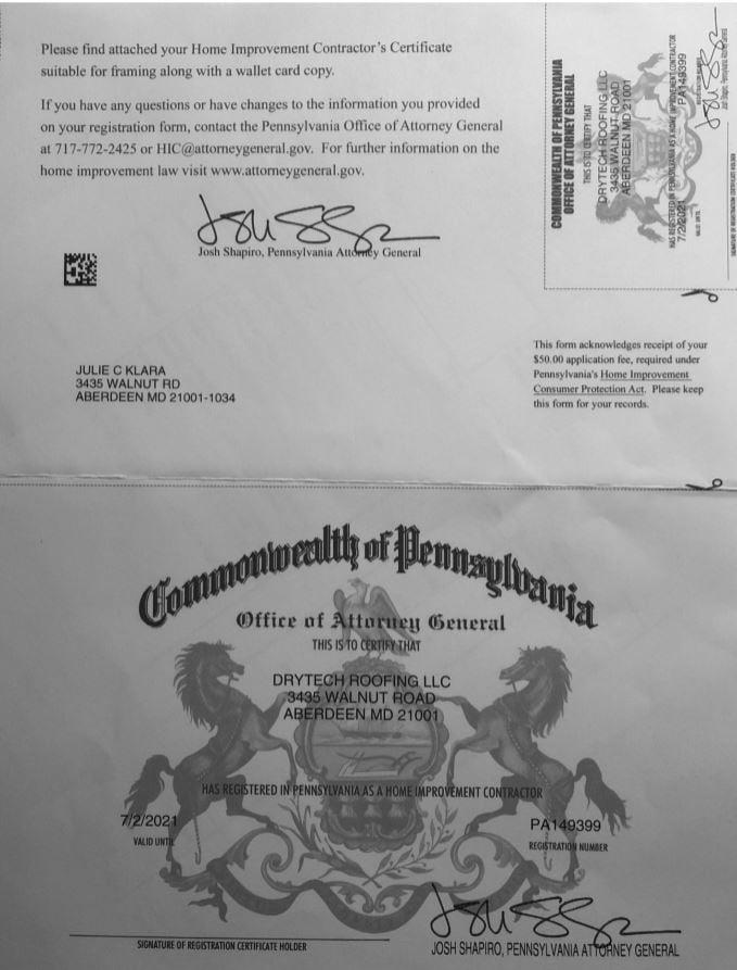 DryTech License, Pennsylvania